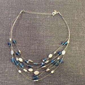 Lia Sophia blue glass necklace